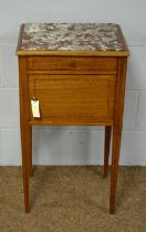 An early 20th C French mahogany and marble top pot cupboard.