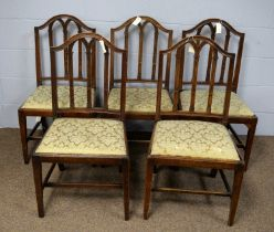 A set of five 19th Century mahogany dining chairs.