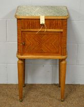 An early 20th C tulipwood and marble-topped pot cupboard.