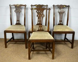 A set of four 20th Century George III style dining chairs.