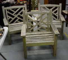 20th C set of three teak garden chairs, and a coffee table, all by Lister.