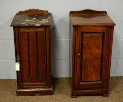 Two mahogany bedside cabinets.
