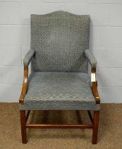 An early 20th Century mahogany framed Gainsborough armchair.
