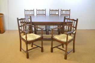 Mid 20th C oak dining room suite.