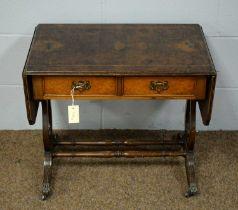 A 20th Century burr walnut side table.