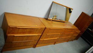 Mid 20th Century teak veneered bedroom furniture.