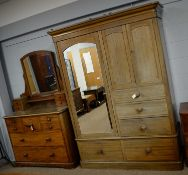 Victorian dressing chest; and a similar style wardrobe.