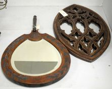 Two carved wood wall mirrors