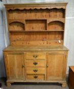 19th C oak dresser base; and associated modern pine top.