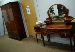 Edwardian wardrobe, dressing table and pot cupboard.