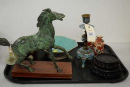 A selection of Asian items and a mantel clock