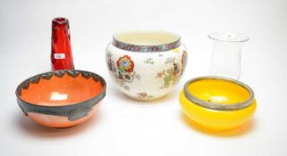 Carltonware orange lustre bowl, and other items