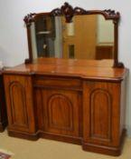 Victorian mahogany breakfront mirror-back sideboard.