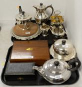 Selection of silver plated ware including a Walker & Hall tea and coffee service
