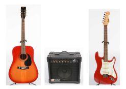 Encore 'Strat'; Pathfinder amplifier; Hohner guitar