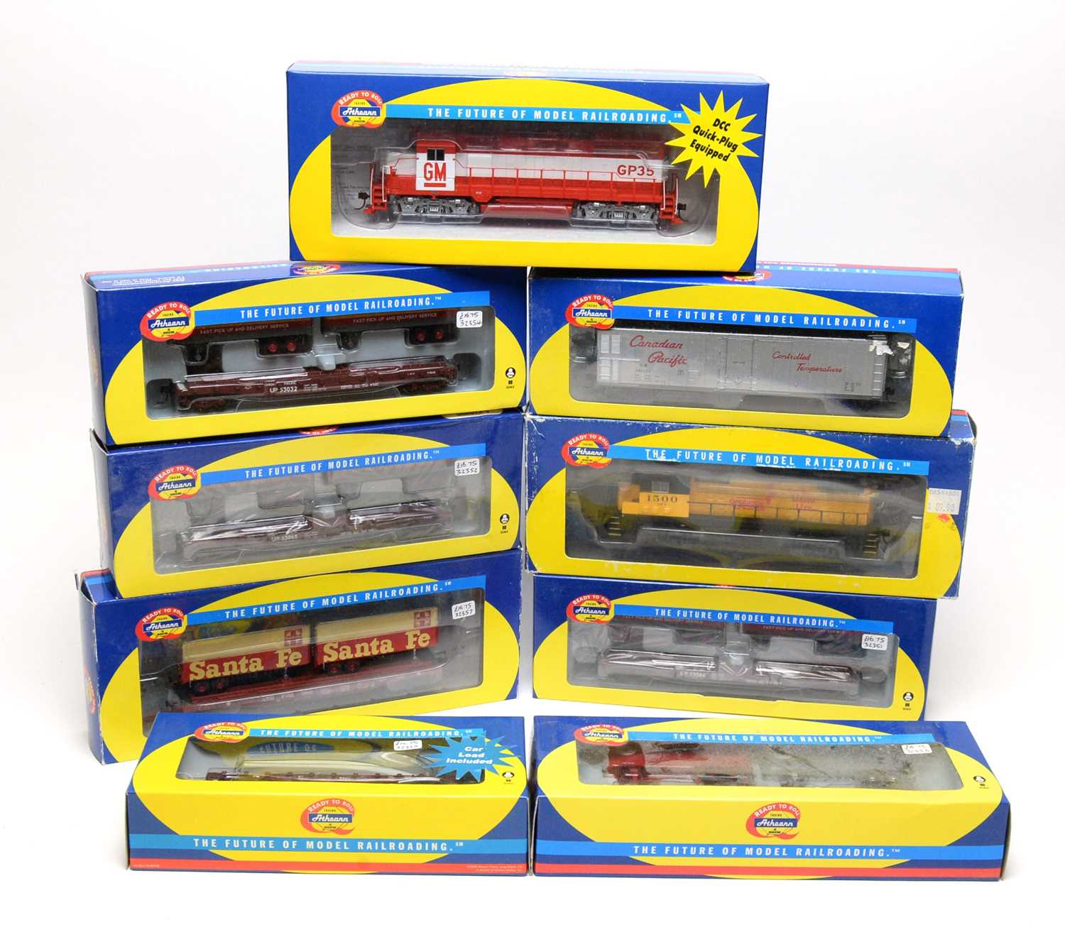 Nine Athearn trains and rolling stock.