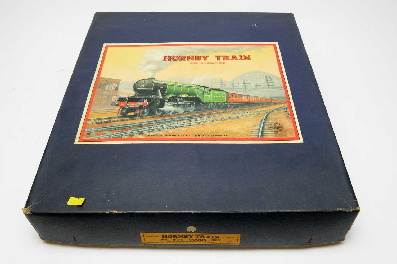 A boxed Hornby 0-gauge train set.