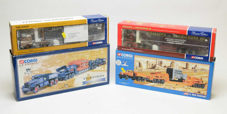 Four boxed Corgi scale model commercial transport vehicles.