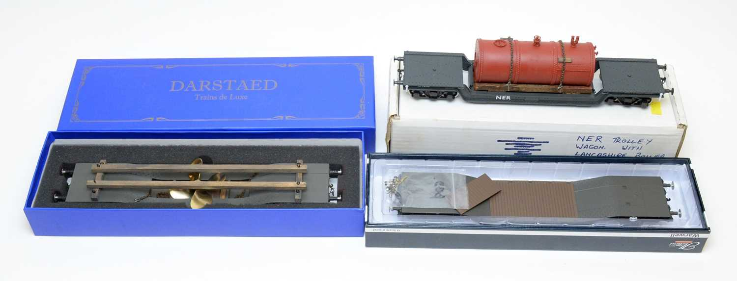 Boxed Darstaed and Hattons 0-gauge railway, flatbeds/rolling stock.