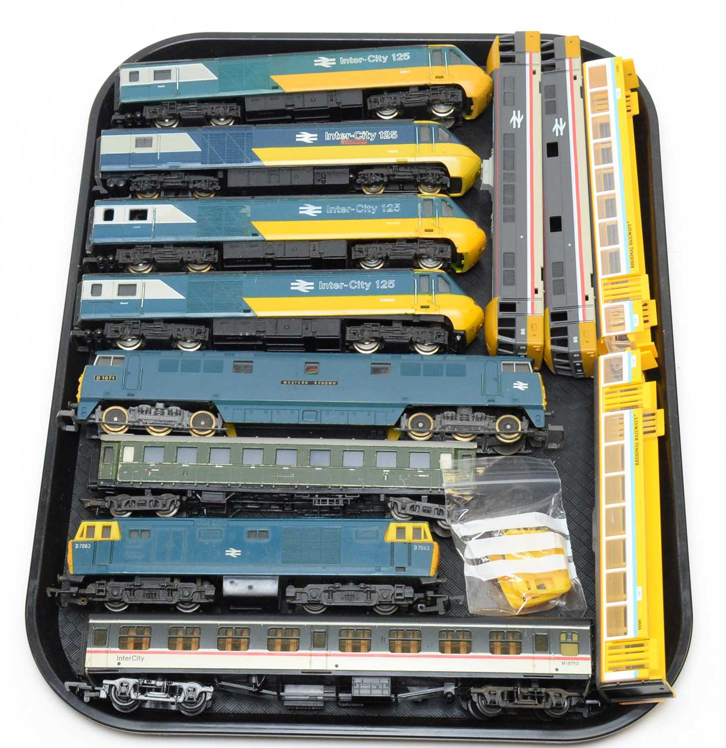 Unboxed Inter-City trains and carriages.
