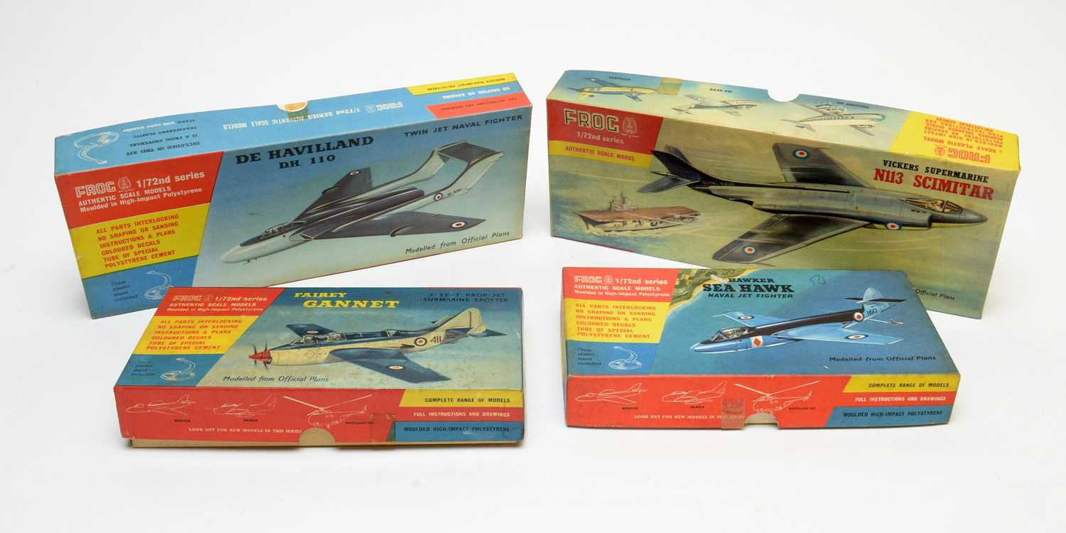 Four boxed Frog scale model construction kits.