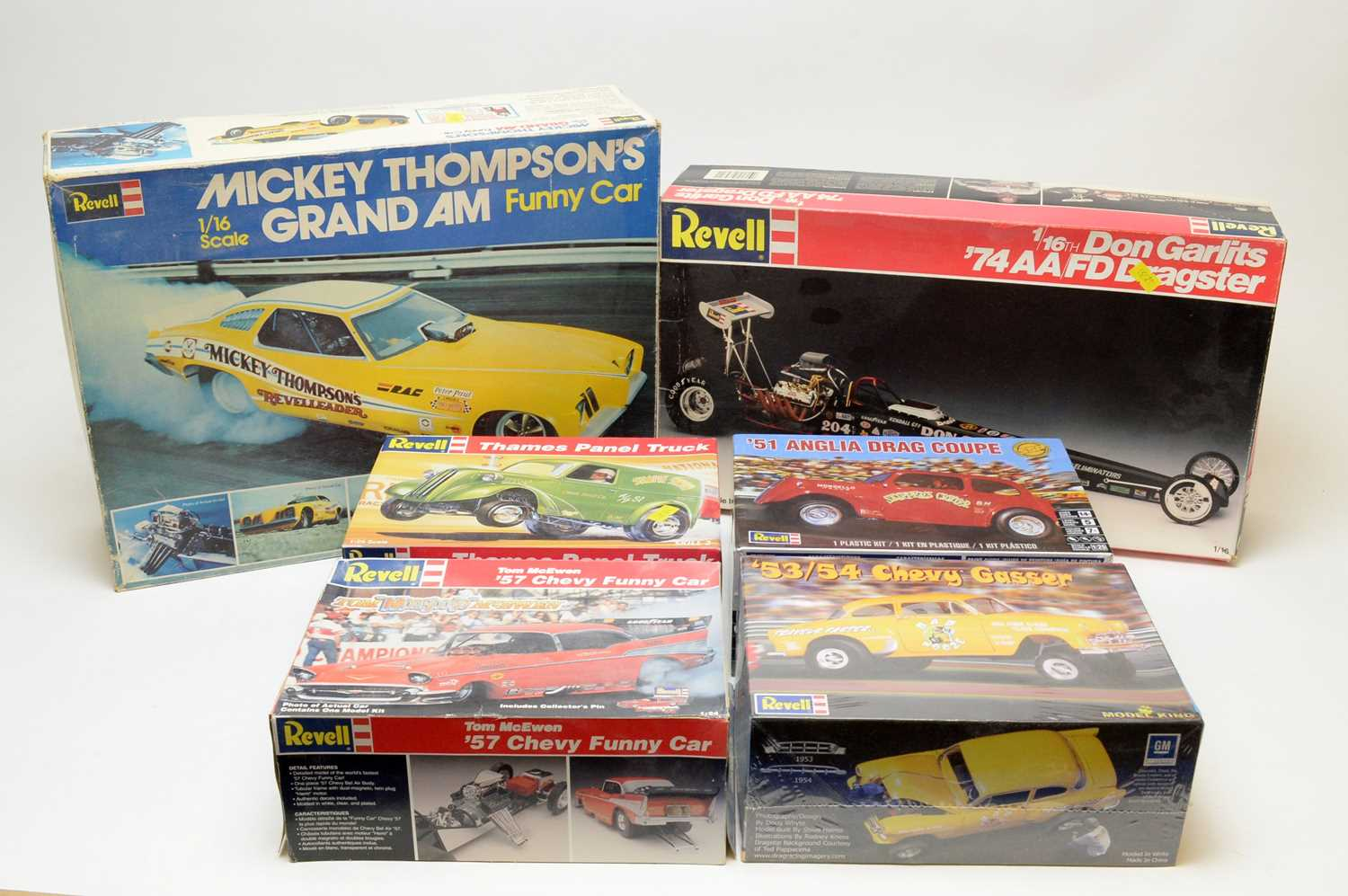Boxed Revell scale model vehicles.