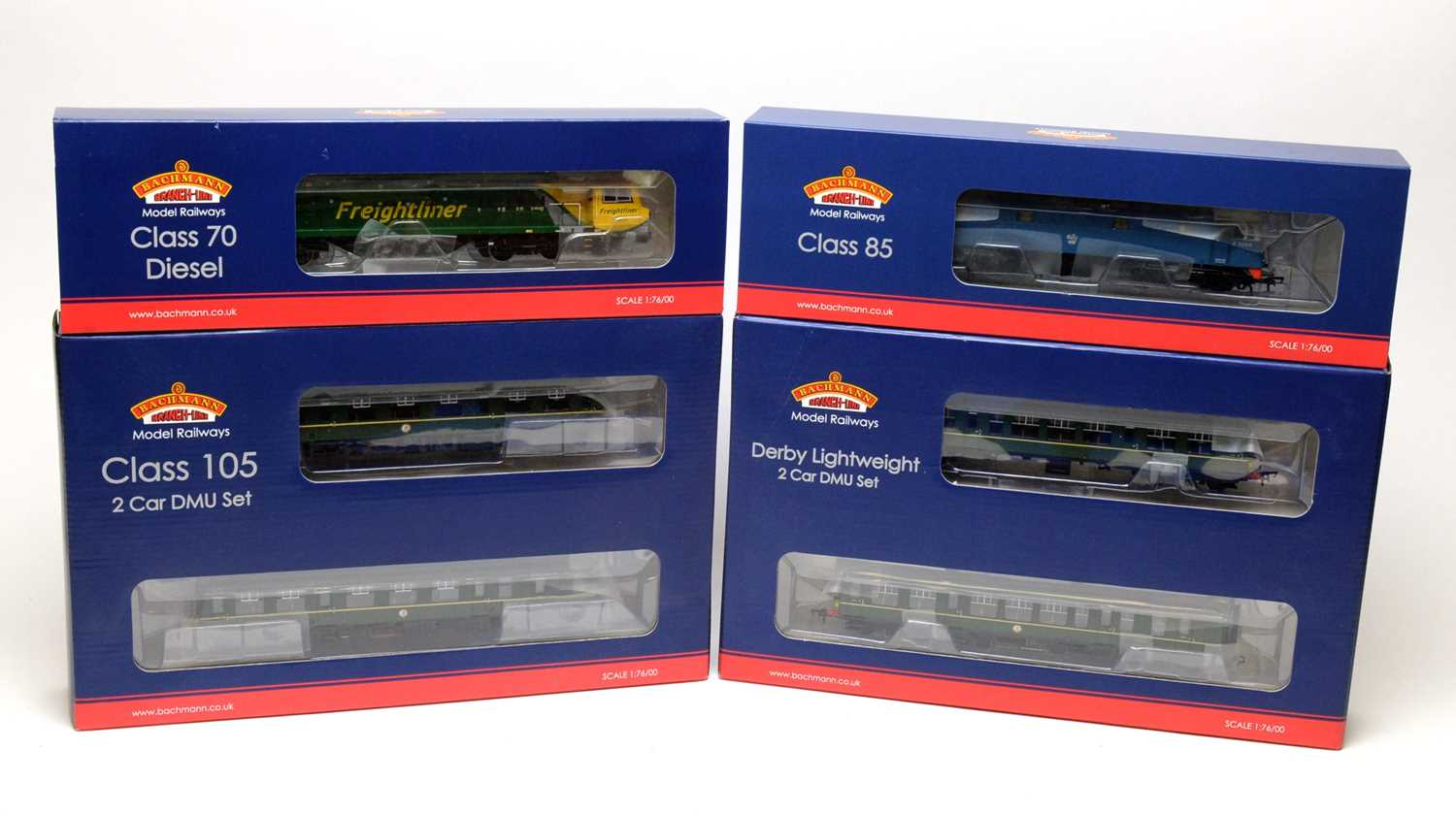 Bachmann 00-gauge Branchline Model Railways boxed trains and carriages.
