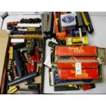 Tri-ang and Hornby 00-gauge model railway trains, tenders, carriages and rolling stock.