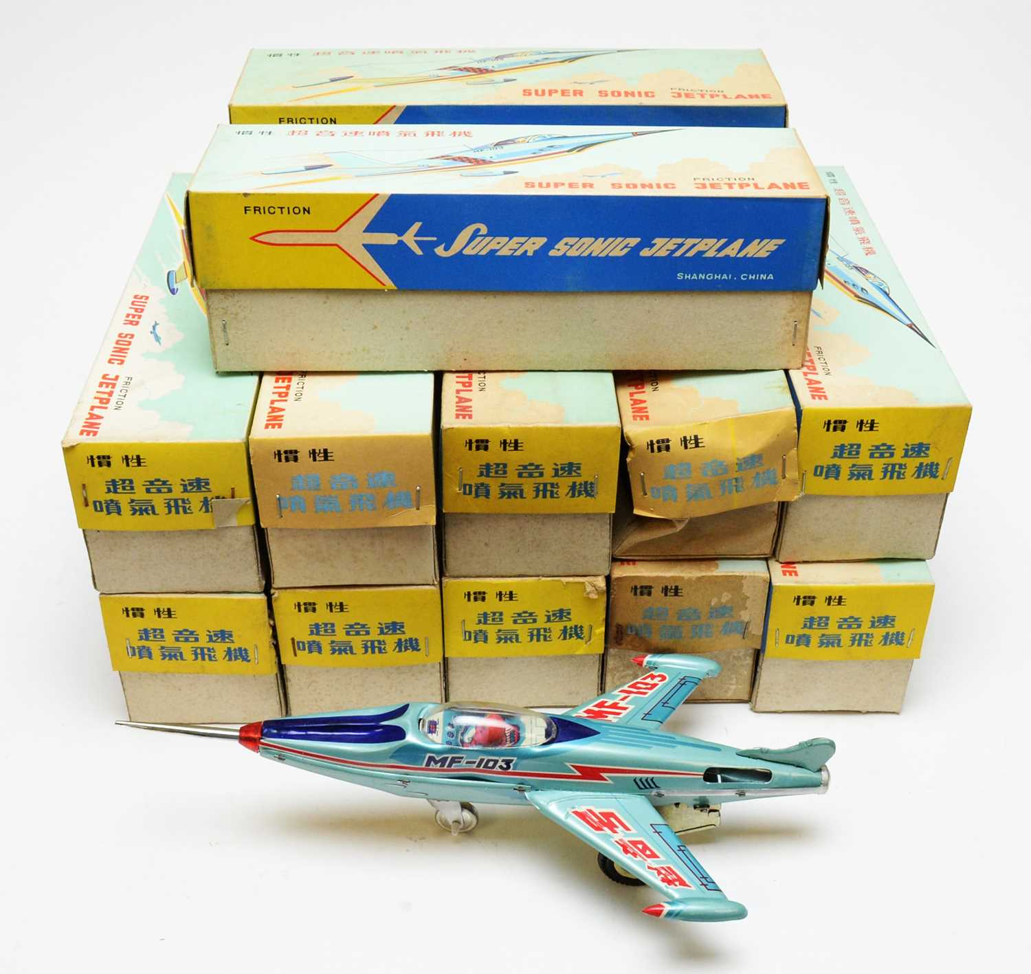 Twelve boxed Friction Supersonic Jetplane scale model aircraft.