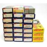 Boxed Roundhouse Products HO-gauge trains and rolling stock.