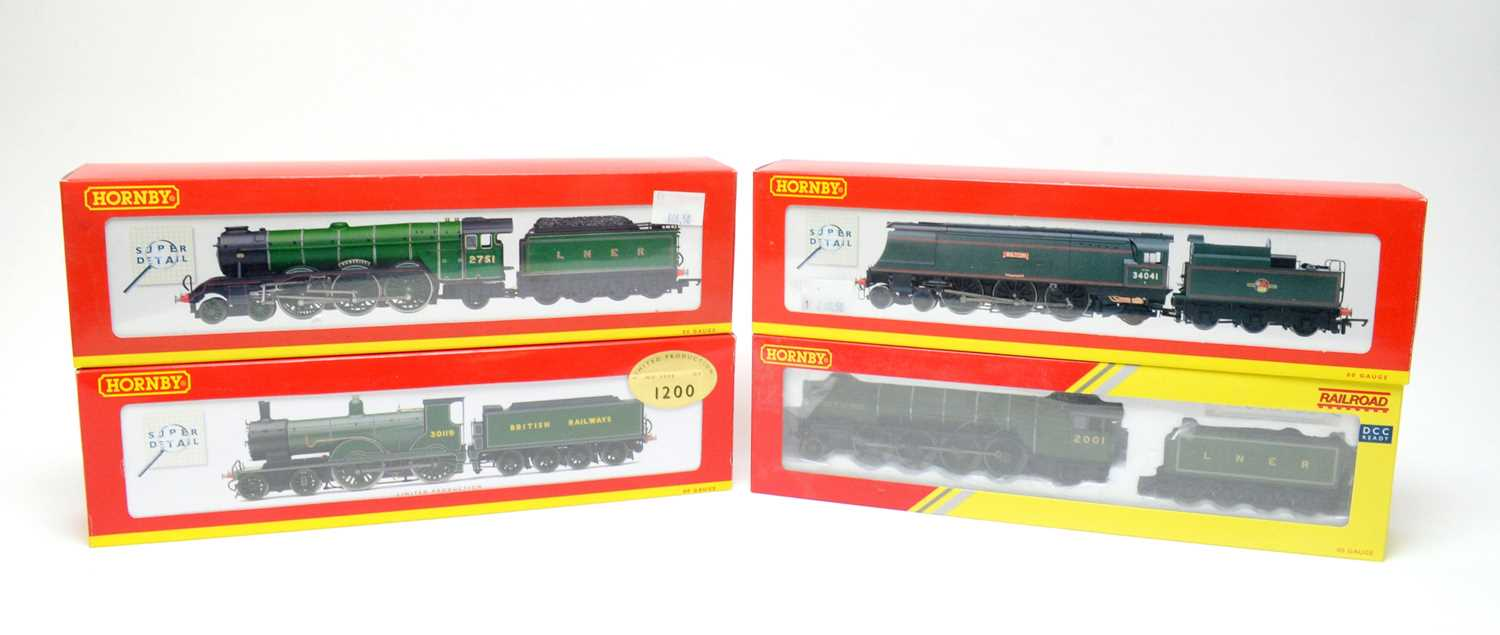 Four boxed Hornby 00-gauge locos.