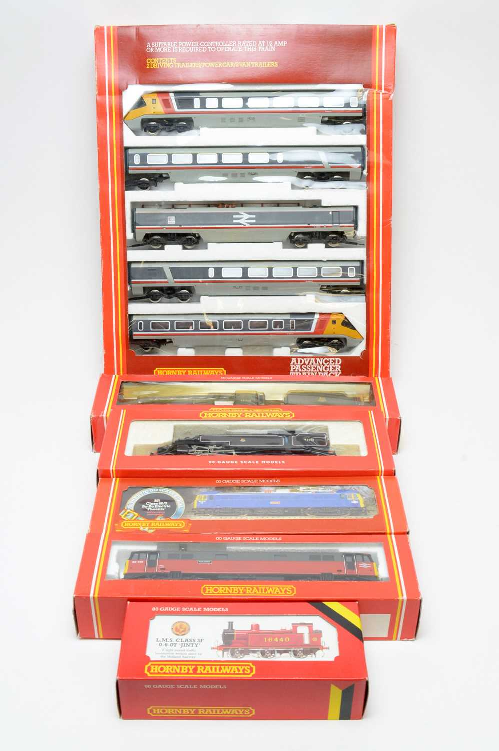 Boxed Hornby locomotives.