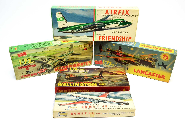 Five boxed Airfix model construction kits.