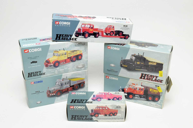 Six boxed Corgi Heavy Haulage Series and Classics Series vehicles.