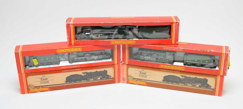 Five boxed Hornby 00-gauge locomotives.
