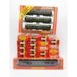 Group of twenty-five boxed Hornby 00-gauge railway carriages.