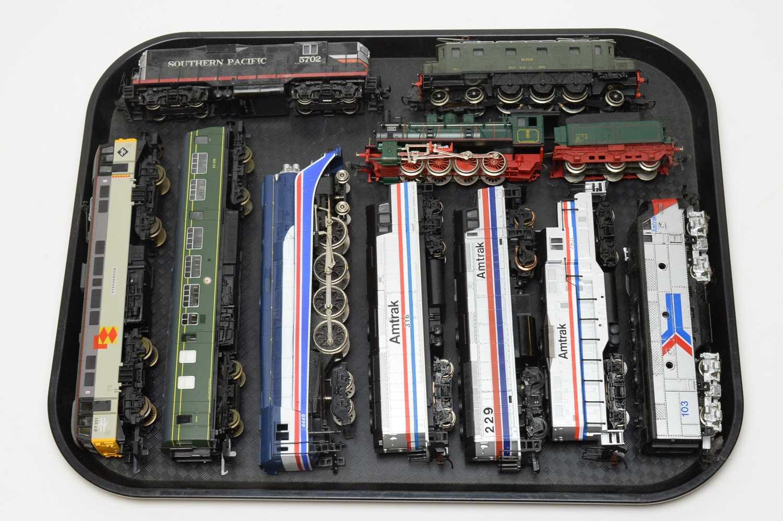 Ten unboxed locomotives and tenders