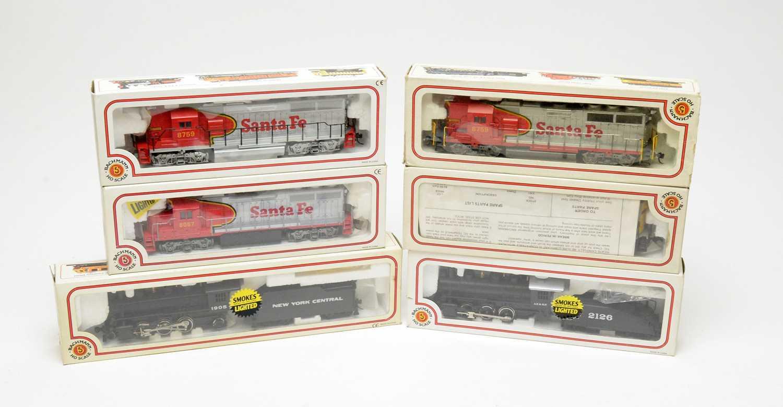 Six Bachmann HO-gauge boxed trains, Electric Trains Series.