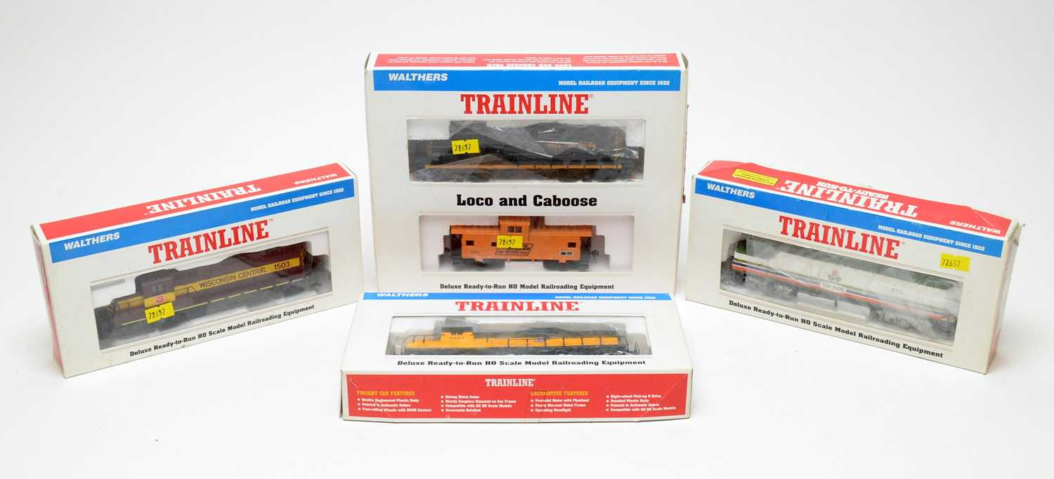 Walthers Train Line HO-gauge trains and rolling stock.