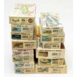 Fourteen boxed Airfix model construction kits.
