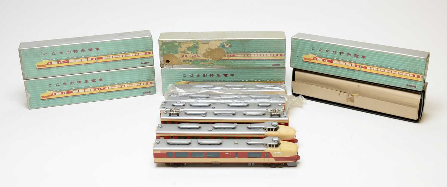 Boxed and unboxed Tenshodo Inter-City electric trains.
