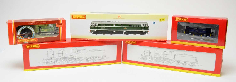 Five Hornby 00-gauge boxed locomotives.