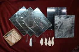 A quantity of vintage mirror plates of Finnish origin, 32 cm x 28 cm and a box of crystal chandelier