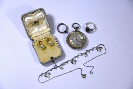 A Victorian silver pocket watch, Arts & Crafts necklace and other items