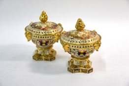 Two Bloor Derby Imari pot pourri vases and covers