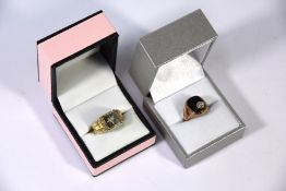 9ct rose gold onyx and diamond set signet ring