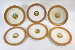 A set of six Victorian Minton china cabinet plates