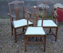 A pair of oak carver chairs to/w a matching side chair (3)