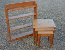 A pine nest ot three tables to/w an open bookcase