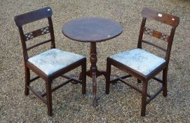 A pair of 19th century country chairs to/w a tilt-top occasional table (3)
